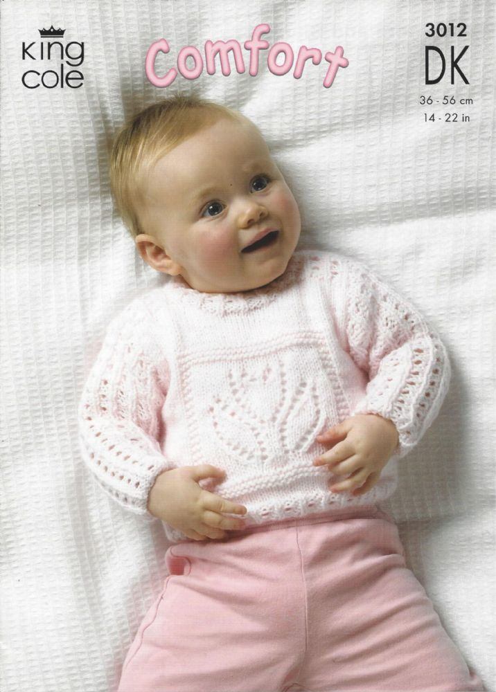 King Cole Baby DK Knitting Pattern - 3012 Sweaters & Blanket